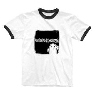 白いハニワ【ゆるロゴ(ブラック)】 Ringer T-shirts