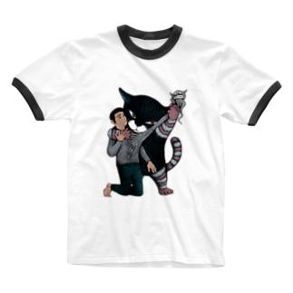 もやもやしたもの抜き取っちゃう猫 Ringer T-shirts