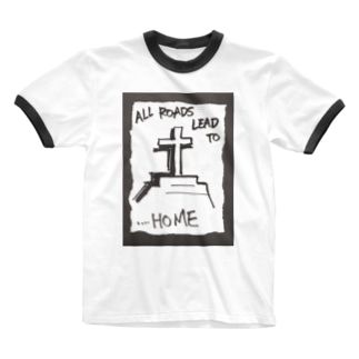 偽諺~弐~「全ての道はホームに通ず」(黒縁) Ringer T-shirts