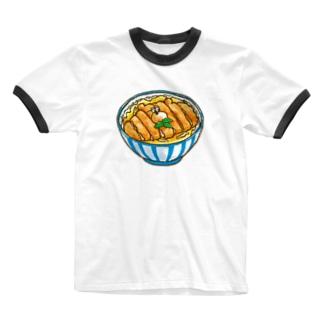 ぶちゃくま。カツ丼 Ringer T-shirts