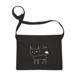 猫と傘 白抜き・黒縁あり Sacoches