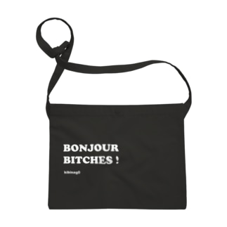 Bonjour Bitches (文字色ホワイト) Sacoches