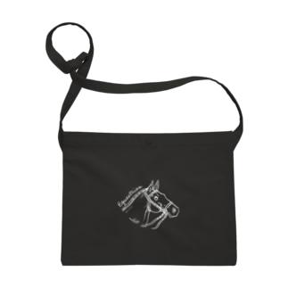 馬 横顔 Equestrian ホワイトライン Sacoches