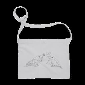 Lily bird(о´∀`о)のセキセイインコと文鳥とクローバー モノクロ① Sacoches