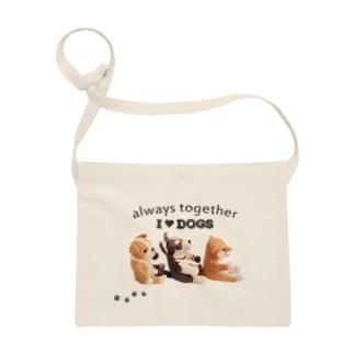 I ♥ dogs 柴犬 シベリアンハスキー ブルドッグの 仲良しトリオ(黒文字Ver.)  Sacoches