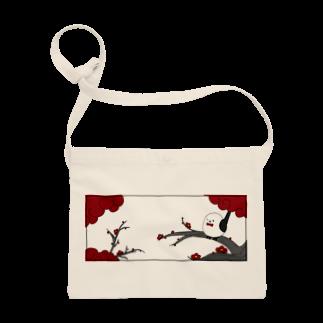 シマエナガの「ナガオくん」公式グッズ販売ページの花札「梅とナガオくん」白 サコッシュ