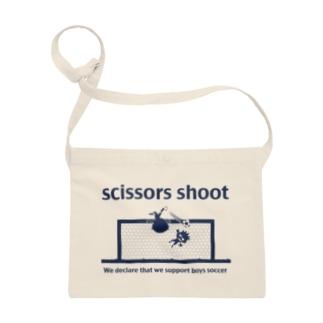 少年サッカー応援宣言!「scissors shoot」紺プリ サコッシュ