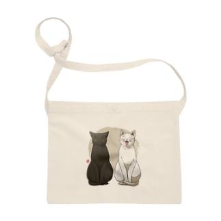 白猫黒猫お座り Sacoches