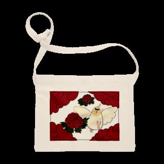 シマエナガの「ナガオくん」公式グッズ販売ページの花札「牡丹とオカメ」 サコッシュ