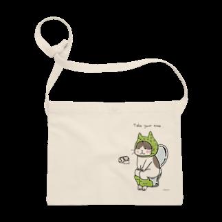 ほっかむねこ屋@9/3−9 東急ハンズ池袋1Fのといれねこ 緑色 サコッシュ