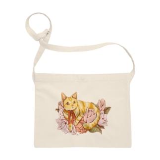 猫とお花 サコッシュ