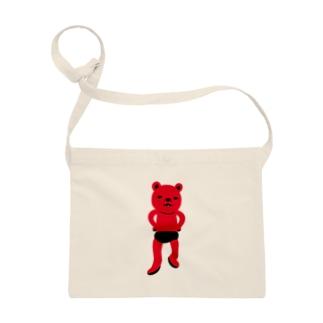 潔い姿の熊(赤) サコッシュ