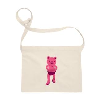潔い姿の熊(ピンク) サコッシュ