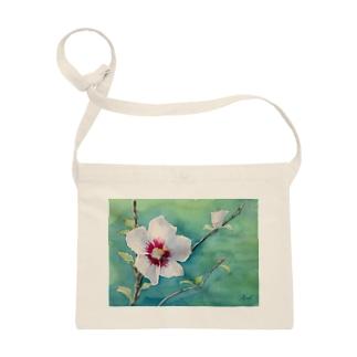 ムクゲ:透明水彩でお花の絵 サコッシュ
