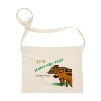 2019亥年の猪のイラスト年賀状イノシシ サコッシュ