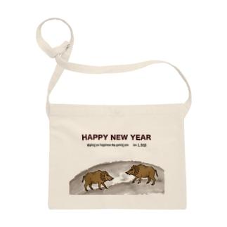 2019亥年の猪のイラスト年賀状イノシシ Sacoches
