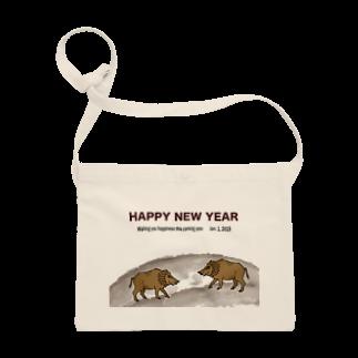 ジルトチッチのデザインボックスの2019亥年の猪のイラスト年賀状イノシシ サコッシュ