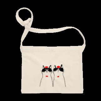 yamadafuukoの白黒ハチワレ猫ズ_赤2 Sacoches