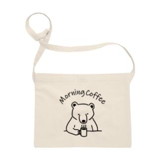 モーニングコーヒー クマ 熊 動物イラストアーチロゴ Sacoches