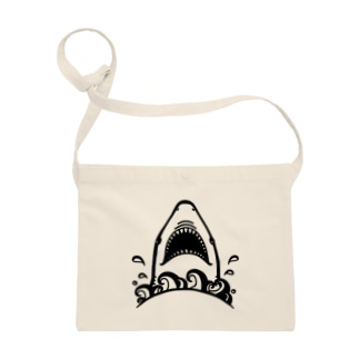 Cɐkeccooのおくちぱっかりサメさん‐しろくろ Sacoches
