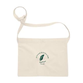 「ティールグリーンの羽根」ロゴデザイン Sacoches