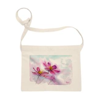 コスモス「どこまでも」透明水彩お花プリント Sacoches