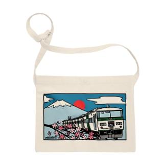 YASCORN(やすこーん)鉄道の「踊り子」185系と富士山、桜 イラスト Sacoches