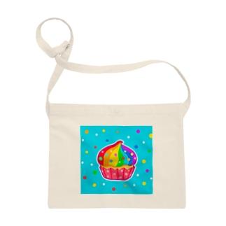 【虹色HAPPYレインボー】「にじカップケーキ」(水色) サコッシュ