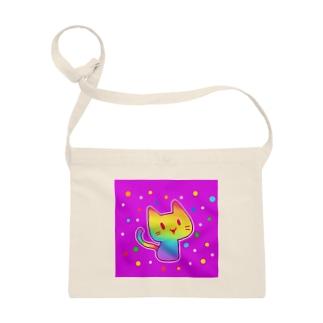 【虹色HAPPYレインボー】「にじネコ」(紫) サコッシュ