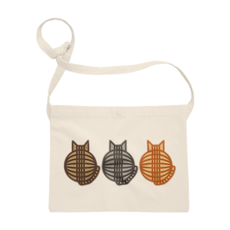 SHOP W SUZURI店の猫(3匹)の丸い背中サコッシュ