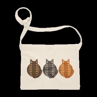 SHOP W SUZURI店の猫(3匹)の丸い背中 サコッシュ