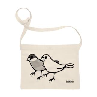 桜と白の文鳥 サコッシュ