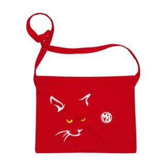 簡潔なる猫の布かばん・暗色向け Sacoches