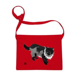 たてがみのある猫の布かばん・白黒 Sacoches