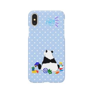 お片づけできないパンダ🐼ブルー iPhoneケース Smartphone cases