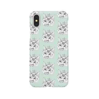 ねこさまケース-グリーン- Smartphone cases
