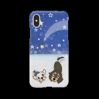 小さな犬のルーの星空スマホケース Smartphone cases