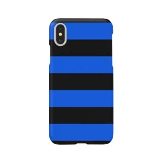 Border Stripe (Black × Blue) スマートフォンケース