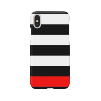 Border Stripe (Black × White × Red)  スマートフォンケース