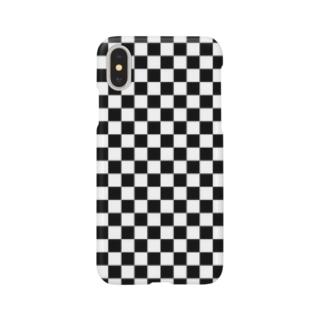 チェッカー(黒) Smartphone cases