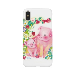 豚の親子 スマートフォンケース