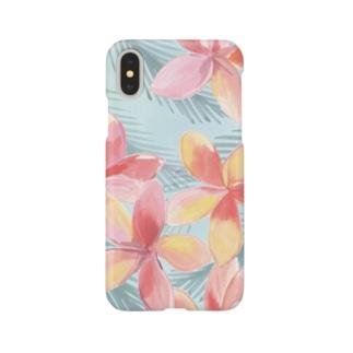 プルメリア・ブリーズ(水色) Smartphone cases