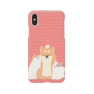 猫にモテモテほっこり柴犬 Smartphone cases