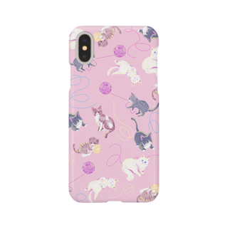 Fanfleecyのmeow meow(pink) Smartphone cases