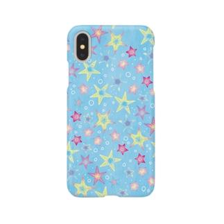 ヒトデぎっしり柄(blue) Smartphone cases