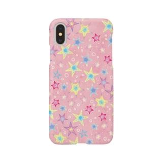 ヒトデぎっしり柄(pink) Smartphone cases