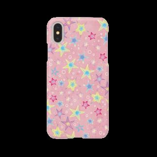 Fanfleecyのヒトデぎっしり柄(pink) スマートフォンケース