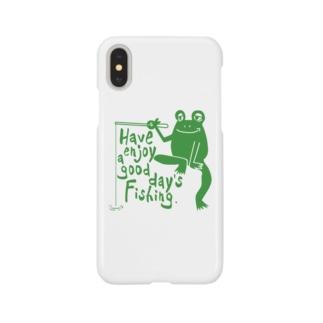 カエルが釣りをするでケロ Smartphone cases