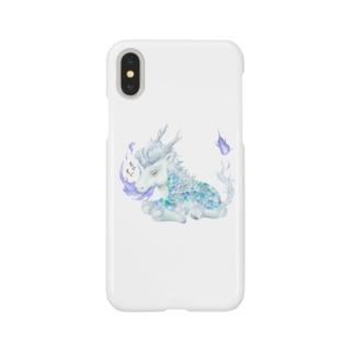 もぐもぐきりん_白 Smartphone cases