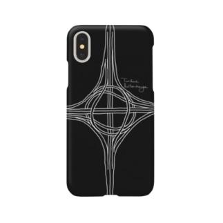 Rakushigeショップのタービン型インターチェンジ(黒) Smartphone cases